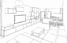 Sketch of our Living room with Ikea Metod, coffee table Lack, seating Sedacky Phase Modena, Lighting Eglo Optica