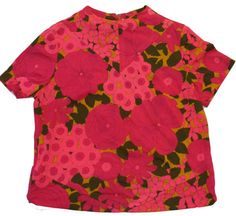 Vintage 1960s Hot Pink Flower Print Top By Ruth by SycamoreVintage, $10.00