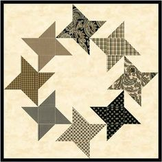 Friendship Star quilt block made up in a wreath formation. Made with leftover half-square triangles from Flying Geese blocks.