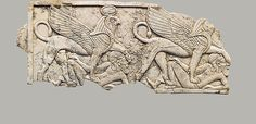 Plaque with two winged sphinxes, each trampling a fallen Asiatic Date: ca. 9th–7th century B.C. Geography: Mesopotamia, Nimrud (ancient Kalhu) Culture: Assyrian Medium: Ivory The Metropolitan Museum of Art