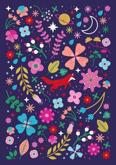 Carly Watts Illustration: Little Leap #fox #nature #pattern #flowers #folk #decorative