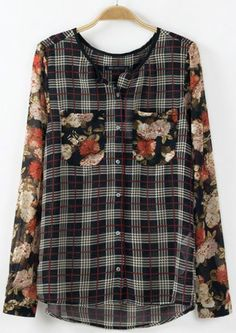 plaid and floral mixed print blouse