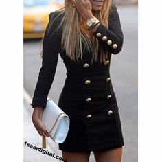 V-Neck Solid Color Double-Breasted Long Sleeve Women's Dress