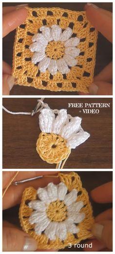 crochet Daisy Granny Square Free Crochet Patterns + Video – Knitting and crocheting Granny Square Pattern Free, Granny Square Häkelanleitung, Granny Square Crochet Pattern, Crochet Blanket Patterns, Crochet Motif, Crochet Stitches, Granny Square Tutorial, Free Crochet Square, Granny Square Projects
