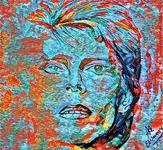 Serie: Adiós a David Bowie - Trabajo Digital sobre una aguada de Acrílico que realicé - Autora: Alejandra Etcheverry
