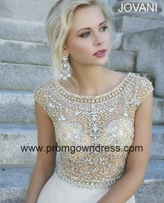 Champagne Empire Scoop Chiffon Cap Sleeves Prom Dress by Prom Gown Dress