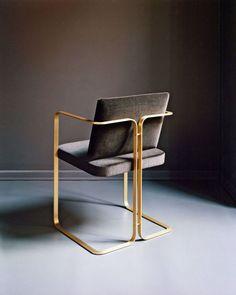Brass and velvet chair