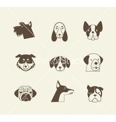 Pets icons - cats and dogs elements vector - by ma_rish on VectorStock®