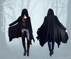DARKNESS Hooded Jacket - Cardigan Cloak - Thumbhole Sleeves - Asymmetrical Hem - Black Modal Jersey - Regular & Tall Sizes