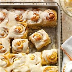 Can't-Eat-Just-One Cinnamon Rolls- Taste of Home February March. Instant vanilla pudding in the dough. Makes 12 in a 9x13 pan
