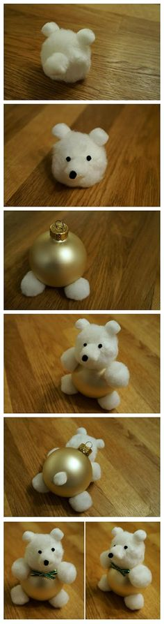 DIY Bear Ornament... Fun idea to do with the kids for our tree this year, maybe even angels and snowmen..