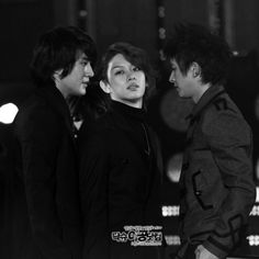 "Siwon, Heechul and Hangeng (Super Junior) - great photo, I love how Siwon looks at Hangeng ""Heechul is mine!"" XD"