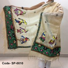 Cream color Tassar-Tassar Dupatta with Pattachitra painting from Odisha depicting dancing girls and maroon and black bootis all over Size: L*W (2.5 mtr *1 mtr)