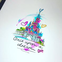 Disney Castle Drawing, Disney Castle Tattoo, Disney Drawings, Cute Tattoos, Body Art Tattoos, Sleeve Tattoos, Tatoos, Sleeping Beauty Tattoo, Miraculous Ladybug