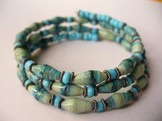Paper Bead memory wire Bracelet by stillrain on Etsy