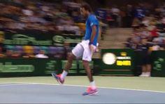 Gael Monfils. Tweener. Need we say more?   Watch: http://www.tennisnow.com/Blogs/NET-POSTS/March/Video-Two-Ridiculous-Gems-by-Gael-Monfils-in-Davi.aspx
