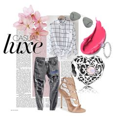 A fashion look from September 2015 featuring chemise shirt, low waist jeans and polish shoes. Romwe, Giuseppe Zanotti, Polyvore Fashion, Ray Bans, Pandora, Clothing, Style, Outfit, Swag