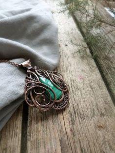 Malachite copper necklace by UrsulaJewelry