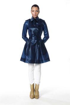 Designer Raincoats: Find Designer Raincoats at TerraNewYork — Tribeca Midnight Blue Baby Raincoat, Raincoat Outfit, Raincoats For Women, Jackets For Women, Designer Raincoats, Waterproof Trench Coat, Blue Trench Coat, Rain Jacket Women, Spring Fashion Trends
