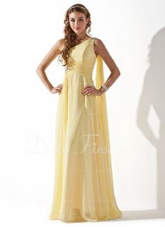 A-Line/Princess One-Shoulder Floor-Length Chiffon Holiday Dress With Ruffle Beading (020013793)