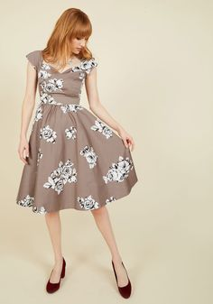 Stop Staring! Pine All Mine Midi Dress in Illustrated Roses
