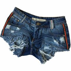 1cf57f859 Short Jeans Degrant Destroyed Fita Duocolor Lateral Azul