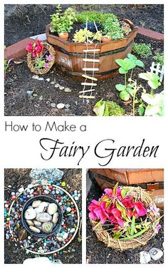 How to Make a Fairy Garden- with plants, craft stick ladder, nature weavings, letter stones, and more! Fun outdoor activity for spring and summer that encourages imaginative play! ~ http://BuggyandBuddy.com