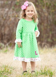 Lolly Wolly Doodle Apple Green Pink Dot Ruffle Minky Dress