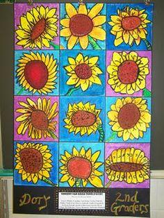 dessiner les tournesol sur un carton à la mine et ensuite pastel gras . terminer avec la gouache en pain . voir nuance de rose et de bleu