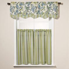 Fantasy Fleur Window Curtain Tier Pairs and Scalloped Valance - BedBathandBeyond.com