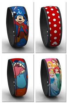 New graphic MagicBands that can be linked later have started rolling into the parks, including Sorcerer Mickey, Minnie Mouse's iconic polka dots, Stitch and Disney Princesses.