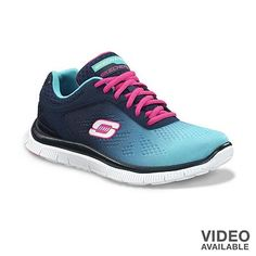 Sketchers Flex with memory foam. I have them in this colour combo and they are SO comfy!! (and pretty cute too)