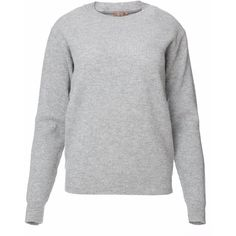 Frett Slow-Made Knitwear - Fishermans Rib Merino Sweater Melange Grey (12.190 RUB) ❤ liked on Polyvore featuring tops, sweaters, grey sweater, extra long sleeve sweater, long sleeve tops, long sweater and merino wool crew neck sweater