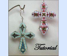 Coat-of-Arms Cross Beaded Ornament di beadedpatterns su Etsy Jewelry Making Tutorials, Beading Tutorials, Beading Patterns, Beaded Brooch, Beaded Earrings, Beaded Jewelry, Cross Earrings, Bead Jewellery, Arms Crossed
