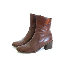 size 6.5 brown Italian leather ankle boots  37 by santokivintage on Etsy https://www.etsy.com/listing/98587244/size-65-brown-italian-leather-ankle