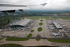 Beautiful view from British Airways Boeing 747-436 of Heathrow terminals 5A and 5B.
