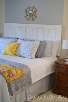 King size natural headboard with lights headboard for How to make a headboard out of a door
