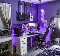 Bedroom Setup, Room Design Bedroom, Room Ideas Bedroom, Gray Bedroom, Gaming Room Setup, Pc Setup, Cool Gaming Setups, Best Gaming Setup, Gamer Setup
