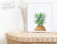 pineapple print pineapple wall art pineapple wall decor kitchen art kitchen wall decor colorful pineapple instant download