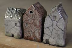 Small Raku Houses, Mark Strayer - North Star Pottery