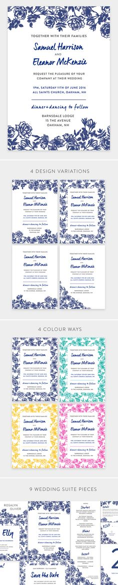 Vintage Flower Wedding Invite - Wedding Suite, 9 Pieces with 4 design variations. PSD.