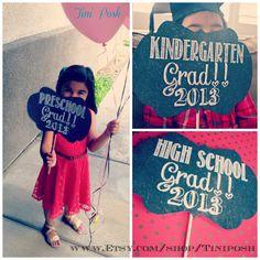 Printable Preschool , Kindergarten & High School Graduation Signs available for instant download : )