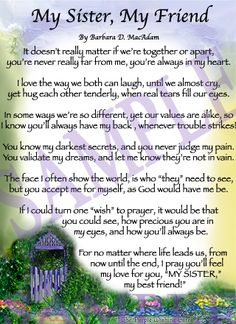Sister Poems   Affordable Inspirational Poem for Sister, birthday blessing gift