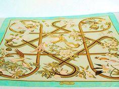 "Hermes CARAIBES Vauzelles Silk Scarf Carre 35 Gold Pale Green 34"" Vintage"