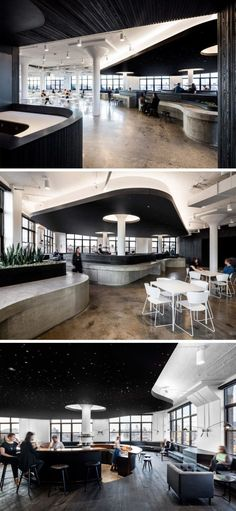 This office cafeteria has curved concrete bars and a dramatic black ceiling.