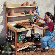 Perfect Potting Bench DIY Project 6 - hooks on side to hold a shirt and the ones for tools down low.