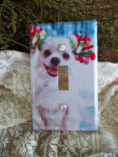 Christmas Switchplate Cover ''Happy Snow Pup'' or ''Christmas Greetings'' Decoration single - pinned by pin4etsy.com