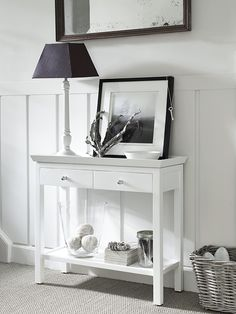 Small Console Table Design And Decor Ideas For Hallway - Small Hall Table, Small Console Tables, White Console Table, Small White Sideboard, Hall Tables, Hallway Console, Hallway Storage, Foyer Furniture, Small Hallway Furniture
