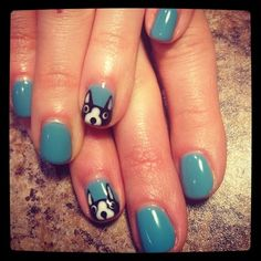 Boston Terriers are arguably the cutest representative of Boston pride. | 14 Manicures With Boston-Themed NailArt
