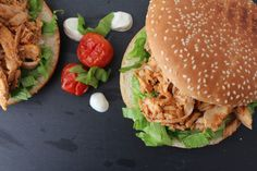 Pulled chicken burger  http://www.onekitchenblog.com/?p=555